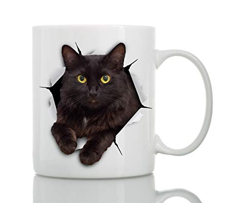 Black Cat Coffee Mug - Ceramic Funny Coffee Mug - Perfect Cat Lover Gift - Cute Cat Coffee Mugs Present - Great Birthday or Christmas Surprise for Friend or Coworker, Men and Women (11oz)