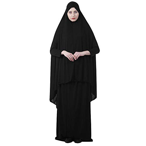 (EDITHA Women's Muslim Prayer Dress Hijab Scarf Islamic Abaya Dress Two-Piece Full Length Dress 2XL Black)