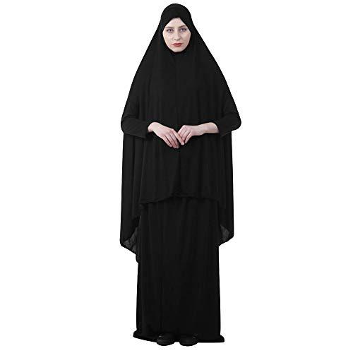 EDITHA Women's Muslim Prayer Dress Hijab Scarf Islamic Abaya Dress Two-Piece Full Length Dress 2XL Black