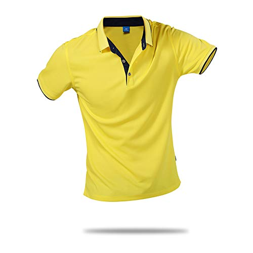 - SanVera17 Unisex Casual Classic Solid Color Polo Shirts Short Sleeve Quick-Dry T-Shirt Yellow US XXL
