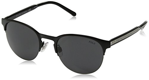 Polo Ralph Lauren Men's Metal Man Sunglass Round, SEMISHINY BLACK, 51 mm ()