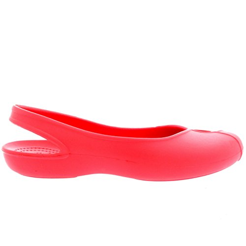 Womens Crocs Olivia Ii Platte Strandschoenen Sling Back Lightweight Sandals Coral