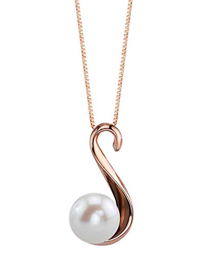 THE PEARL SOURCE 8-9mm Genuine White Freshwater Cultured Pearl Rose Gold Anastasia Pendant Necklace for Women (Necklace Pearl Gold Rose)
