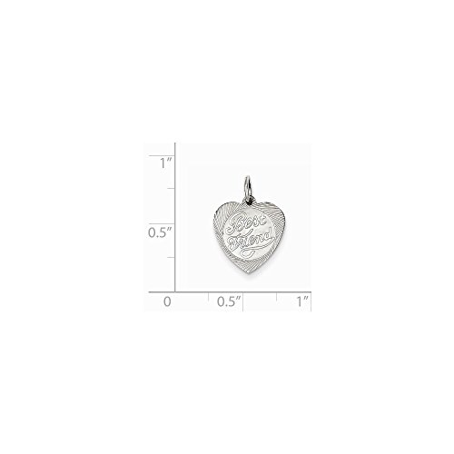 Sterling Silver Engravable Best Friend Heart Disc Charm (0.6in)
