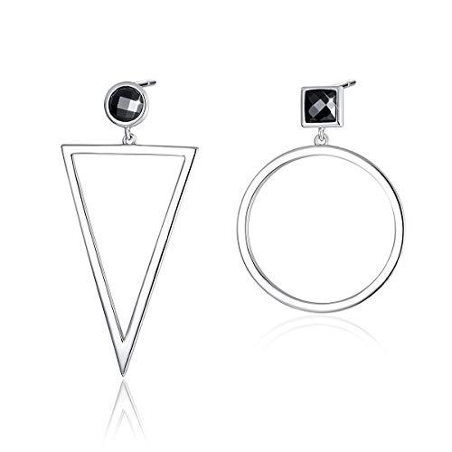 SIMPLOVE Geometric Women Earrings, 925 Sterling Silver Post Mismatched Big Circle Triangle Drop Dangling Earrings for Sensitive Ears (Drop Ear Posts)
