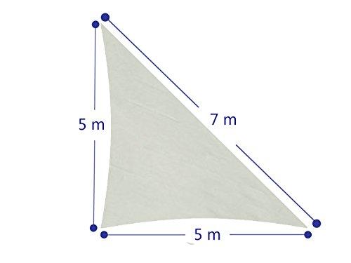 Cool-Area-Dreieck-5-x-5-x-7-m-Sonnensegel-Sonnenschutz-Segel-UV-Schutz-fr-Balkon-Terrasse-Garten