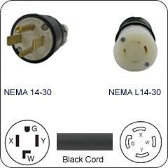 Nema 14 30 >> Amazon Com Plug Adapter Nema 14 30 Plug To L14 30 Connector