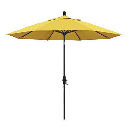 - California Umbrella 9' Round Aluminum Market Umbrella, Crank Lift, Collar Tilt, Black Pole, Lemon Olefin