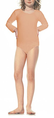 ToBeInStyle Girl's Long Sleeve & Legless Leotard - Medium - (Nude Colored Leotard)