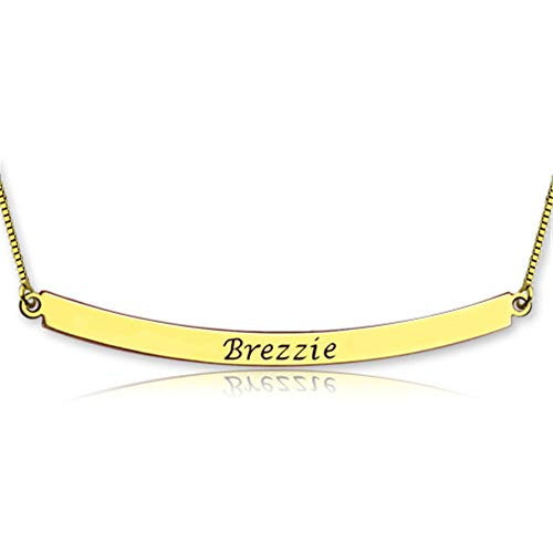 - Funcok Personalized Gold Plated Curved Bar Nameplate Necklace 925 Sterling Silver Custom with Any Name