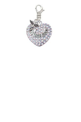 Sisters Rock on AB Crystal Heart Mini Caduceus Clip On Charm (C5202)