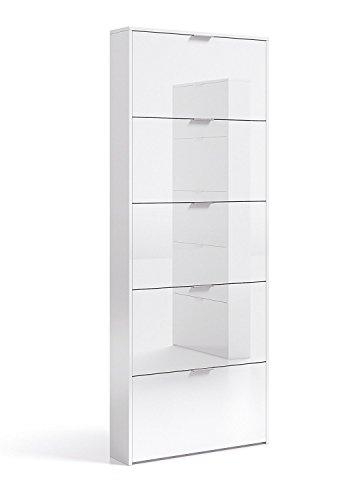 Habitdesign Zapatero con 5 Puertas, Mueble Zapatero Estrecho Dormitorio,Capacidad 15 Pares, Color Blanco Brillo, Medidas 70 x 180 x 17 cm de Fondo