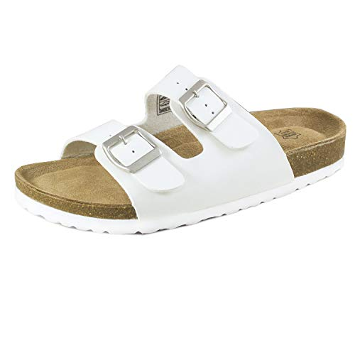 Trends SNJ Women's Double Strap Leather Footbed Insole Flat Sandals White ()