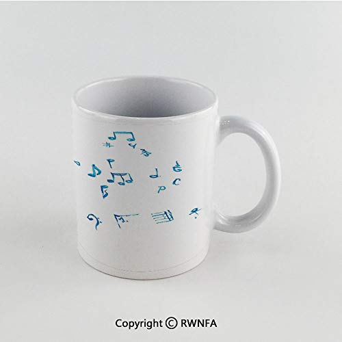 - 11oz Unique Present Mother Day Personalized Gifts Coffee Mug Tea Cup White Guitar,Watercolor Musical Instrument with Notes Sheet Elements Brush Stroke Effect Decorative,Magenta Blue White Funny Ceram