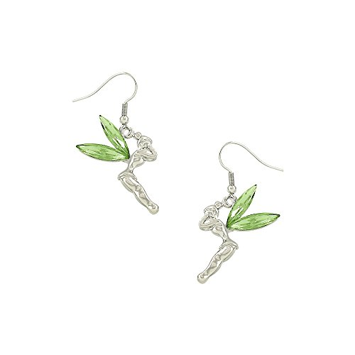 Liavy's Tinker Bell Fairy Fashionable Earrings - Fish Hook - Sparkling Crystal - Green