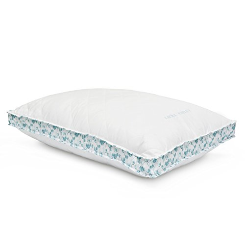 (Luxury Laura Ashley Firm Density Ava Quilted Bed Pillow - Blue Tulip Print Gusset - Hypoallergenic Polyester Microfiber - Sold Individually (Jumbo))