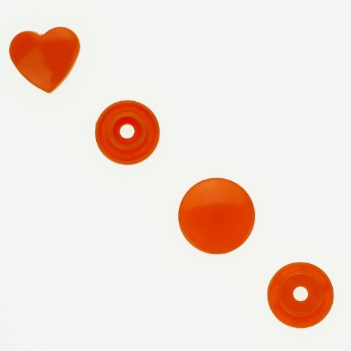 100 Glossy Orange (B55) Heart Shaped KAM Plastic Resin Snaps Craft Baby Bib Cloth Diaper (Heart Diapers I)