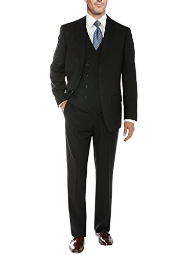 "Salvatore Exte Mens Suit Vested Three Piece Blazer Jacket Dress Vest Plus Pants (50 Regular US / 60R EU/W 44"", DB Black)"