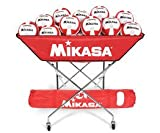 Indoor Volleyball - Ball Carts - Collapsible Hammock 24 Ball Cart with Carrying 6 Ball Bag, Scarlet