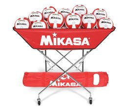 Indoor Volleyball - Ball Carts - Collapsible Hammock 24 Ball Cart with Carrying 6 Ball Bag, Scarlet by Mikasa Sports (Image #1)'