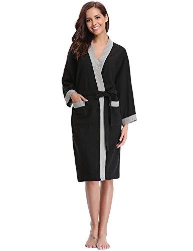 (Aibrou Unisex Waffle Bathrobe Cotton Lightweight Nightgowns Sleepwear Spa Robe Black-Grey )