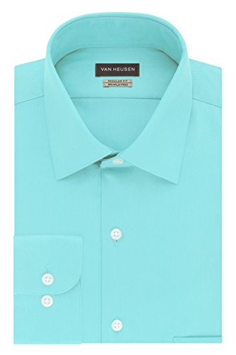 (Van Heusen Men's Dress Shirts Regular Fit Lux Sateen Solid Spread Collar, Blue ice, 16