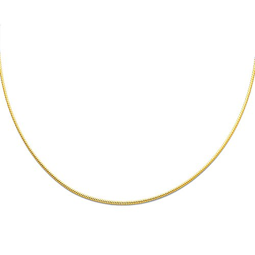 Paradise Jewelers 14K Yellow Gold 1mm Sparkle Omega Necklace - -