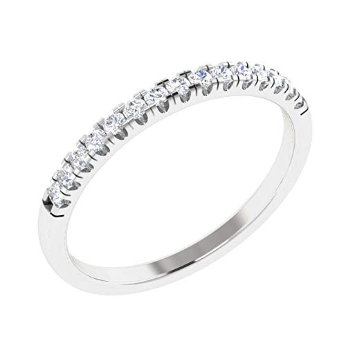 New Year Offers Luxury Diamond Band Ring For Women Natural Diamond Rings 10K White Gold Real Diamond Rings for Women 1/6 Carat I2-I3-HI Real Diamond Band Rings (Diamond Jewlery Gifts For Women) (Gold Diamond Anniversary Ring Jewelry)