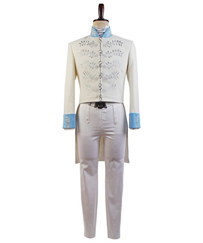 Cinderella Outfit For Adults (Cinderella Prince Charming Attire Outfit Cosplay Costume Halloween Uniform White XX-Large)