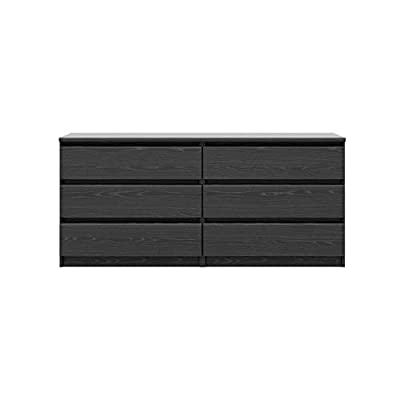 Tvilum Scottsdale 6 Drawer Double Dresser Finish: Black Woodgrain - ISTA 3A Certified Six roomy drawers Made In Denmark - dressers-bedroom-furniture, bedroom-furniture, bedroom - 31oIwmKq1gL. SS400  -