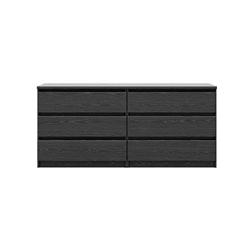 Tvilum Scottsdale 6 Drawer Double Dresser in Black Woodgrain (Cheap Dresser Chest)