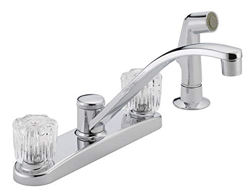 Peerless P299501LF Chrome Kitchen Faucet With Acrylic Handles & Side Spray