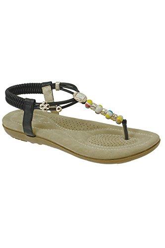 Vibrantes Femmes FANTASIA Perlées Corde JLH708 Confortable BOUTIQUE Sandales Noir Mode Pour Plage 6IqICxwYa