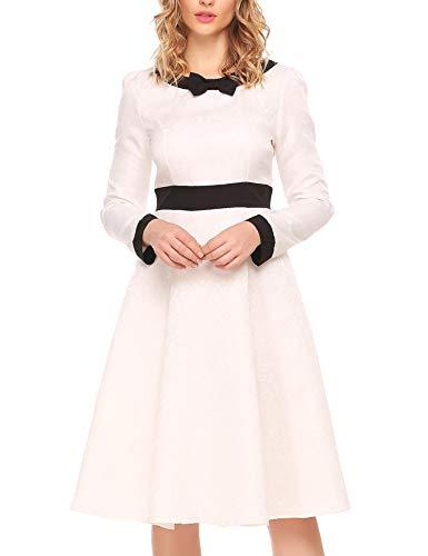 ACEVOG Women's 1950s Vintage Styles Long Sleeve Swing Tea Party Dress,White,L