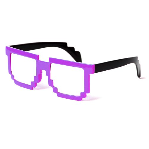 Minecraft Costumes For Free (Block Glasses 8-Bit Pixel Video Gamer Geek Costume Party (Purple, 51))