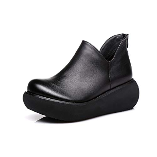 Y Mujer Rojo Cuero Negro Personalizadas Botas Con Yan Medida Zapatos Para Ligeras Cuña A De Gruesa Tacón Retro qFvnwTI