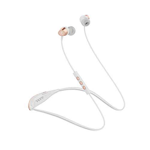 10 Hrs Playtime Music Lightweight Bluetooth Headphones Wireless Headphones Neckband Headset with HD Mic IPX6 Waterproof Earbuds Secure Fit for Running Gym Sport Workou (White&Rose Gold)