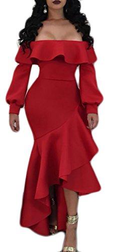 Casual Bodycon Shoulder Womens Ruffled Dress Irregular Cruiize Off Red p5AqF4