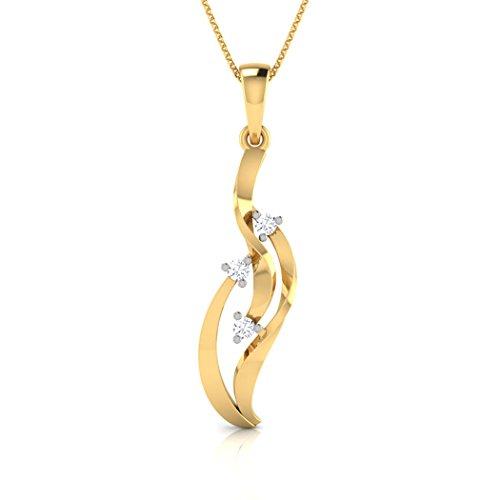 18K Or Blanc 0,08ct tw Round-cut-diamond (IJ | SI) Pendentif
