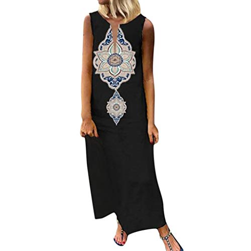TUSANG Women Skirts Sleeveless Print V-Neck Side Slit Bohemian Dresses Shift Boho Maxi Dress Loose Comfy Dress Black