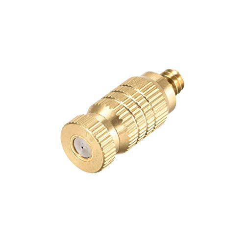 uxcell Brass Misting Nozzle – 3/16-inch Threaded 0.4mm Orifice Dia Fogging Spray Head for Outdoor Cooling System – Golden