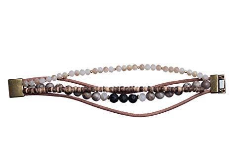 Bops Zengo Aromatherapy On The Go, Essential Oil Diffuser Magnetic Clasp Bracelet, Natural Stones, Leather, Genuine Porous Lava Stone (Earthtones) ()