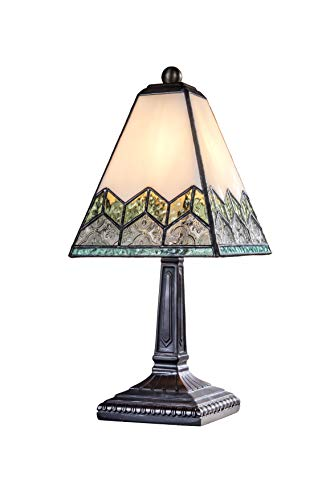 J Devlin Lam 698 Small Tiffany Stained Glass Table Lamp Ivory Green Blue and Clear Chevron Design Desk Accent Light