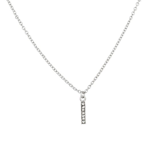 """Lux Accessories Pave Crystal Initial """"I"""" Necklace Block Letter."""