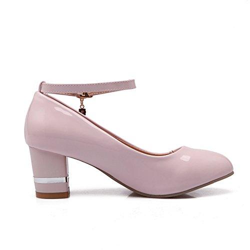 Balamasa Dames Gesp Dikke Hakken Ronde Teen Urethaan Pumps-schoenen Roze
