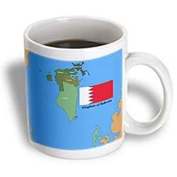 3dRose The Flag and Map of Bahrain with All Governing Regions Marked, Ceramic Mug, - Mug Bahrain