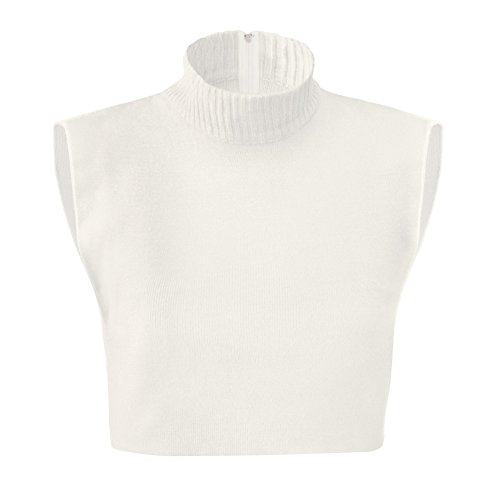 Zippered Dickie Layer Top, White, One Size (Mock Women Dickies Turtleneck)