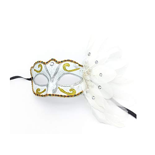 L-YOUXI Masquerade Mask, Women Fancy Dress Ball Venice Easter Halloween Carnival Mask (Color : White-b) ()