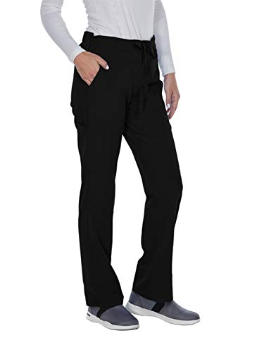 Signature Drawstring Pants - Grey's Anatomy Signature Women's 3 Pocket Low Rise Scrub Pant, Black, Large Petite