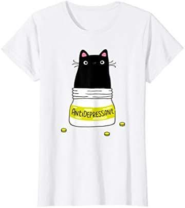 Womens Black Cat Antidepressant  T-Shirt